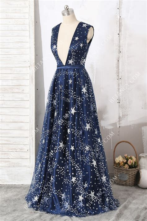 sparkly starry navy blue floor length prom dress betancy