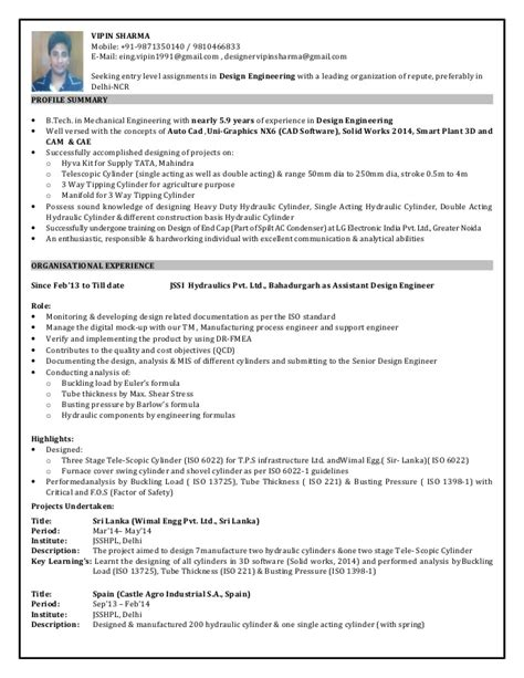 9 Years Experience Resume by Design Engineer Resume With 5 9 Year Professional Experience 1