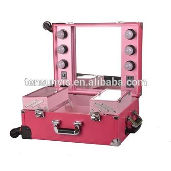 makeup suitcase with lights and mirror lighting rolling cosmetic with mirrior professional