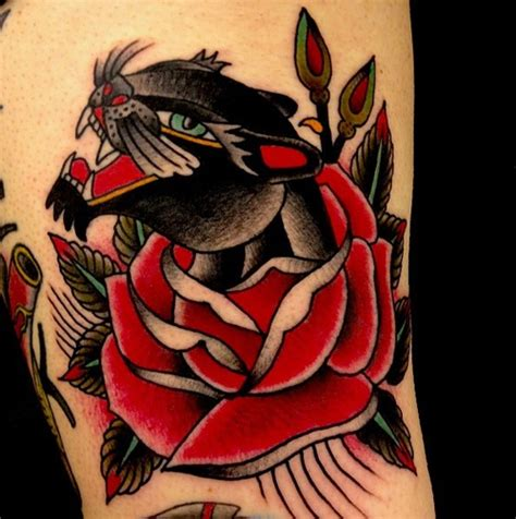 panther and rose tattoo leopard and traditional traditional tattoos