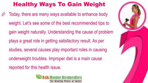 Ways To Gain Weight by Ppt Healthy Ways To Gain Weight For Thin And