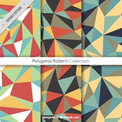 polygon pattern ai geometric patterns with colorful polygons vector free