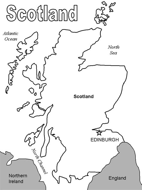 Scotland Outline Coloring Home Scottish Coloring Pages