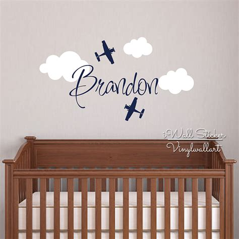 Airplane Wall Decals For Nursery Custom Name Wall Sticker Room Baby Nursery Airplane Name Wall Decal Cut Vinyl Stickers From