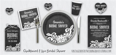 chalkboard bridal shower invitations vintage rustic
