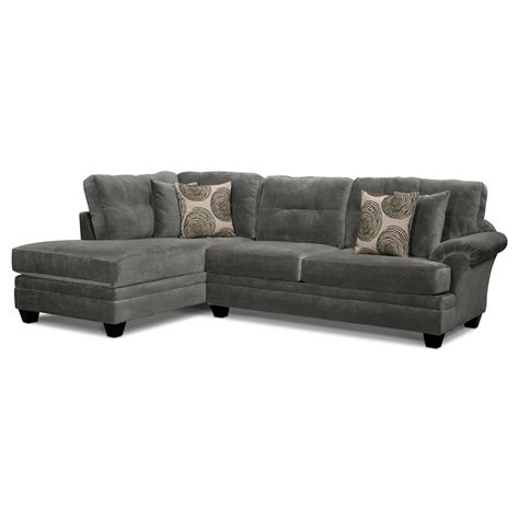 left facing chaise cordelle 2 piece left facing chaise sectional gray