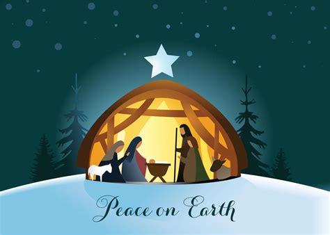 evening nativity religious christmas card
