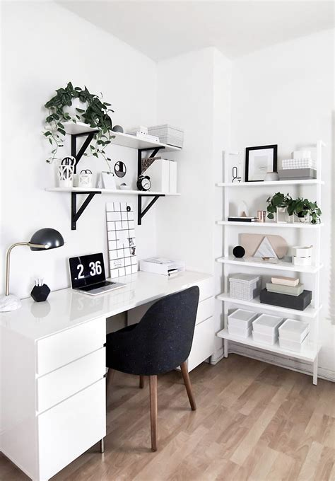 white home office amy kim s black white workspace front main