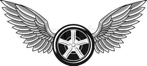 wheel tyre  wings  tattoo  racing design stock vector colourbox