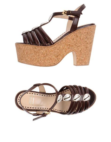 moschino cheap chic platform sandals in brown