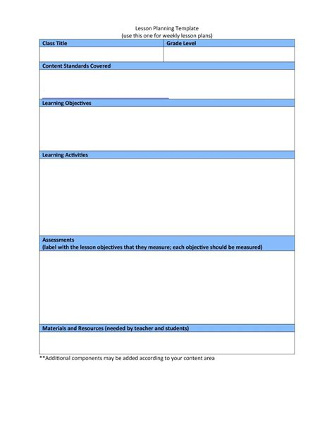 template of template 44 free lesson plan templates common preschool weekly