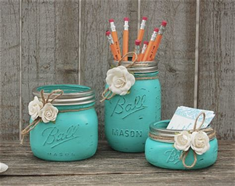 aqua blue desk accessories turquoise mason jar etsy