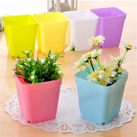 small flower pot plastic seven multicolour square small flower pot office desk small flower pot e607