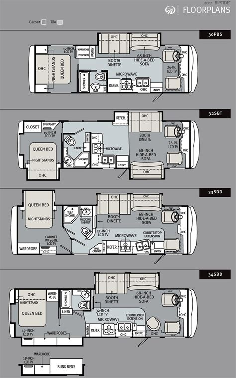 monaco rv floor plans 2011 monaco riptide class a motorhome floorplans large
