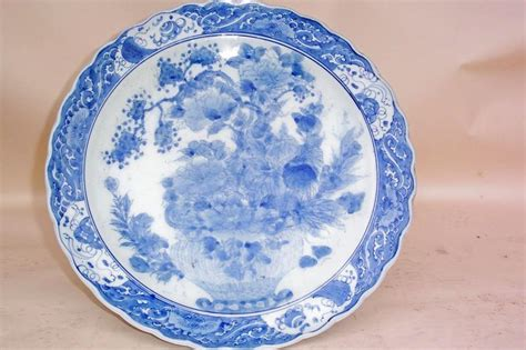 Dziner Ori Blue List White Blue 19th c japanese blue and white charger for sale