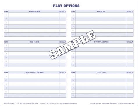 Burghardt Sporting Goods Scorebooks Football Play Cards Template