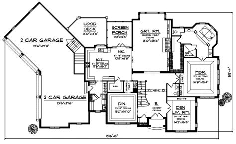 European House Plan   4 Bedrooms, 3 Bath, 4050 Sq Ft Plan