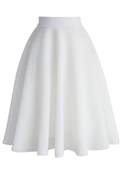 white mesh a line midi skirt retro and
