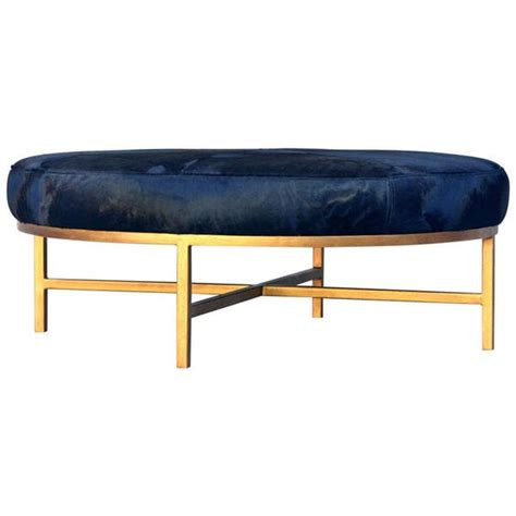 Unique Ottomans Chic Oversized Gilt Metal And Black Calfskin Ottoman Metals Unique And Ottomans