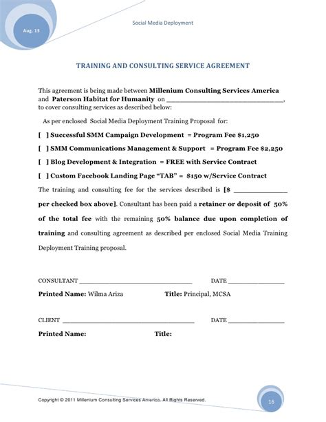 social media management agreement template social media management agreement template best free