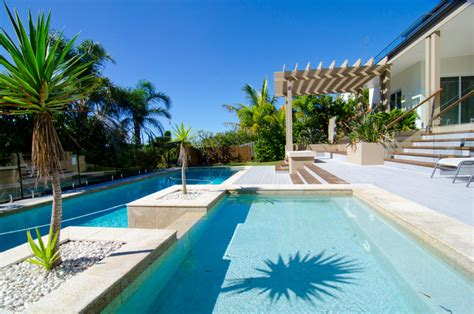 Backyard Makeover Mediterranean Pool Sunshine Coast Backyard Makeover With Pool