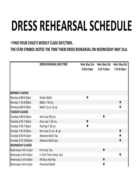 8 Rehearsal Schedule Exles Sles Rehearsal Schedule Template