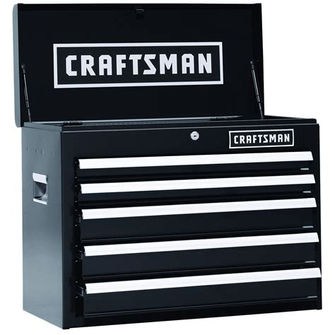 craftsman black 5 drawer tool chest craftsman 26 in 5 drawer heavy duty ball bearing top