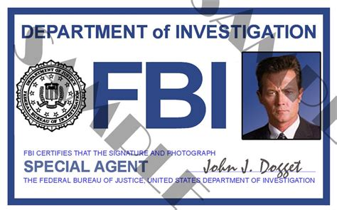 fbi id card template x files special doggett id card template x4l123