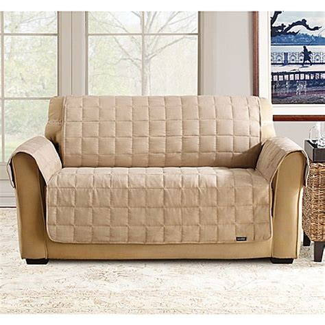 sure fit waterproof sofa cover buy sure fit 174 waterproof loveseat slipcover in taupe from