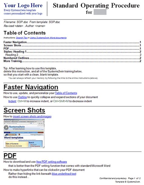 how to create a sop template 9 standard operating procedure sop templates word