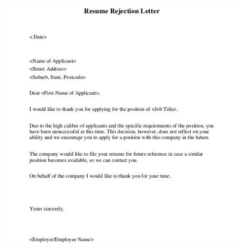material letters template material rejection letter format 29 rejection letters