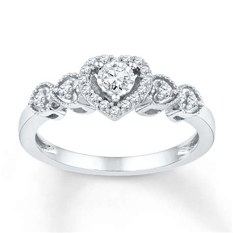 Jared   Diamond Promise Ring 1/5 ct tw Round cut Sterling Silver