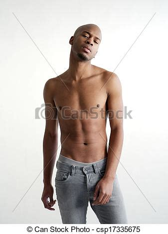 can black men have padour picture of shirtless black man posing on white background