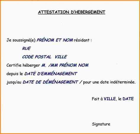 Exemple De Lettre Hebergement A Titre Gratuit 7 Attestation D H 233 Bergement Exemple Curriculum Vitae Etudiant