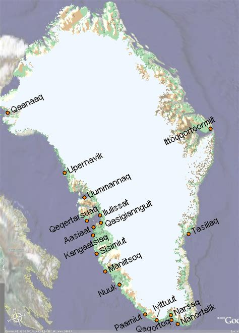 greenland map with cities map of greenland greenland maps mapsof net