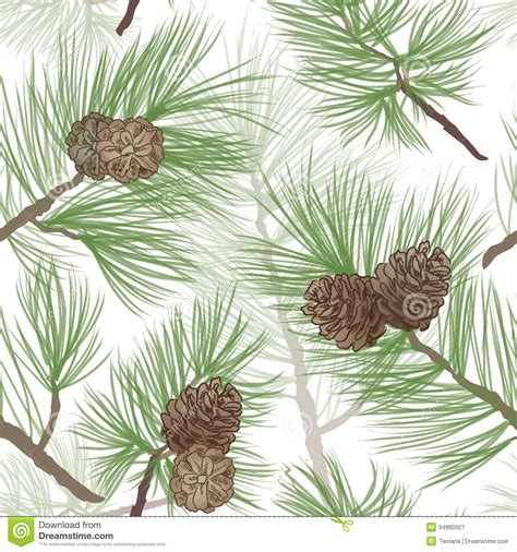 pinecone branch seamless background stock illustration