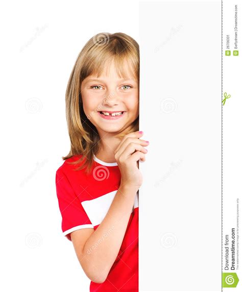 cute preteen cute preteen girl looking out vertical banner stock image