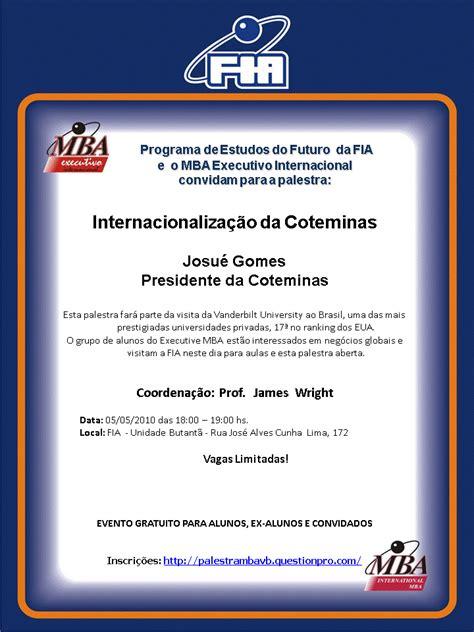 International Executive Mba Fia by The Mb Internacionaliza 231 227 O Da Coteminas