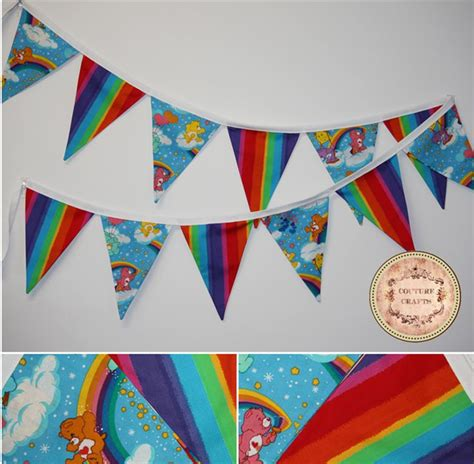 Handmade Fabric Crafts - handmade fabric flag banner bunting quot care bears quot couture