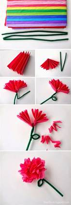 Paper Flowers Crafts - easy tissue paper flowers
