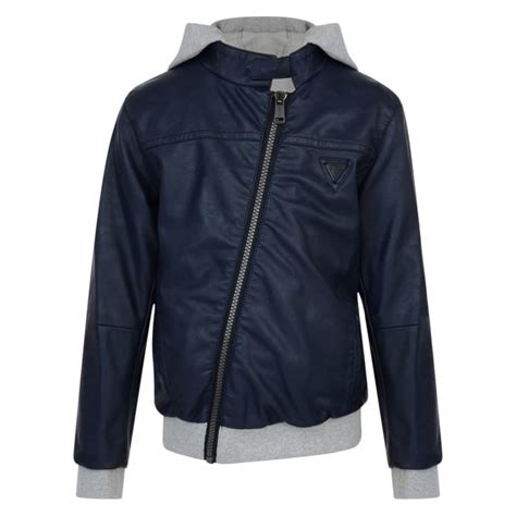 Jaket Hondie Guees guess boys blue hooded jacket with grey detailing guess from chocolate clothing uk