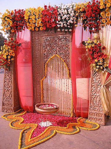 The main entrance to this Indian wedding's event hall is a