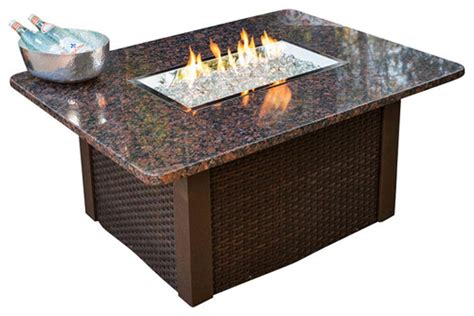 Firepit Coffee Table Outdoor Greatroom Grandstone Gas Pit Coffee Table With Brown Wicker Base N Ebay