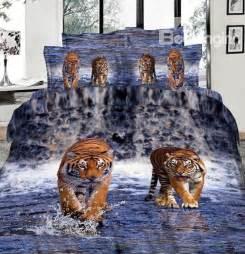 Imperial lifelike tiger 3d printed 4 piece cotton duvet