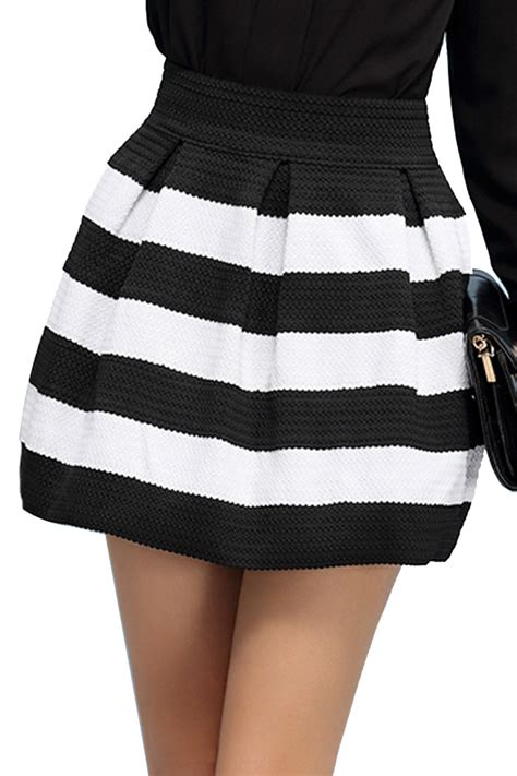 high waist striped skirt oasap