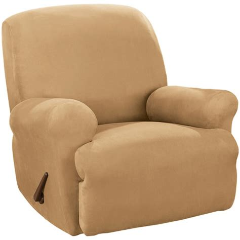 covers for recliners at walmart sure fit stretch suede recliner slipcover walmart com