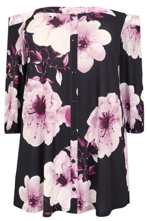 Grosir Blouse Atasan Singlet At 261 V Top Hight Quality black purple floral bardot top with button up front plus size 16 to 36
