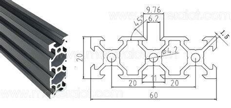 V Slot Aluminium Profile Extrusion Rail 2020 Black Ox Cnc Frame 100cm 1 2060 v slot extruded aluminum profiles 1 meter 20 x 60 makeralot maker tools and materials