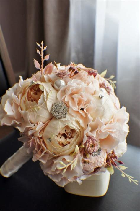 shabby chic bridal bouquet peony bridal bouquet silk wedding flowers brooch bouquet