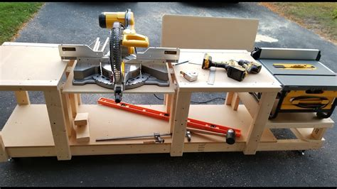 table saw miter mobile workbench for miter saw and table saw